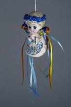 Ceramic bell blue wreath