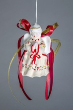 "Hanging bell made from white clay ""Portly angel"""