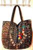 vintage patchwork Indian leather banjara fabric bag