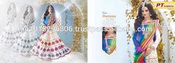 Exclusive Wedding Bridal Lehenga Style Saree / Saris Embroidered/ Zari Heavy Work Indian Designer Sarees & Dress - L