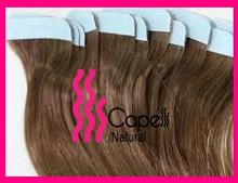 Double machine weft vigin hair unprocessed brazilian hair pu tape hair