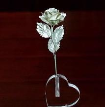 25cm silver foil openning rose flower