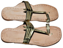 Indian Women Vintage Kolhapuri Leather Mojari Shoes Flat Slipper Pure Jutti From India