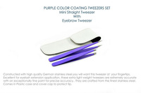 Mini Straight With Eyebrow Tweezer Set In Purple Color Coating