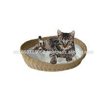 Natural ratan cat bed