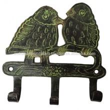 Bird Design Wall Hanging Green Brass Metal Figurine Decorative Home Art India