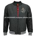 Newest Design Fashion Black Contrast Baseball Varsity Letterman Jacket Wholesale Hip Hop Clothing