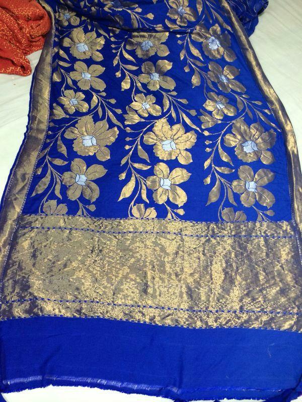 100% Pure Banaras Silk Saree Traditional Ethnic Wear Banarasi Sari ...