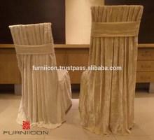 Velvet pleated chair cover