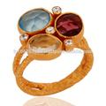Caliente estilo! Granate natural,& citrino y calcedonia azul tres anillo de piedras preciosas, ajuste de bisel anillo de piedras preciosas joyas proveedor