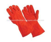 "welding glove, red shoulder split, full sock lined 14"" leather welding gloves"