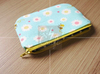 Zipper Pouch, Little Bee, Japanese Fabric, Cotton, Handmade, Thailand, Small Size for Cosmetic, Pencil, Phone, Card, and Coin