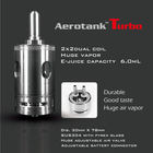 In Stock Now!!! Original KangerTech Aerotank Turbo Atomizer Two Dual Coil 6ml Capacity