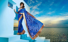 Delicate blue embroidered golden lace border saree sari / sarees at factory price
