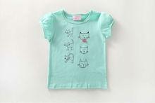 Girls Light Blue 'Cats Family' T-Shirt