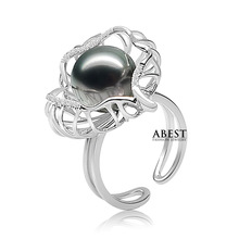 100% Natural Tahitian Black Pearl 10.5-11mm Silver Ring in Micro Setting in Good Quality