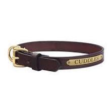 Engraved Leather Dog Collar - Mahogany