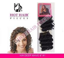 "HOT HAIR PIECES HUMAN HAIR DEEP WAVE 8"""