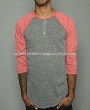 Oem men 3/4 sleeve blank cotton baseball raglan t shirt wholesale