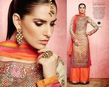Golden Orange Banarsi Silk Straight cut Plazo Salwar suit