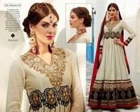 Designer floor length Anarkali Dress in off-White Banarsi Khaadi