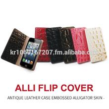 Leather Mobile Phone Case Flip Cover For Apple iPhone 6 / 6 Plus Korea 100% Handmade Embossed Alligator Skin