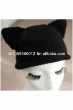 Womens Funky Cat Eared Hand Crochet Beanie Hat Halloween Costume Party Cap