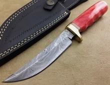 Custom Hand Made Damascus Blade Hunting Knife with Leather Sheath