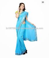 Sky Blue color beautiful designer Indian georgette saree