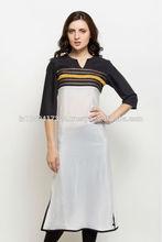 Women's Long Kurti with Black Yoke with elegant lace work,,Ladies Latest New Design Long Kurti,Trendy Long Kurti