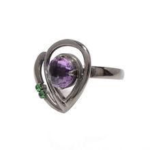 925 Sterling Silver Black Oxides Natural Semi-Precious Amethyst & Green Garnet Gemstone Ring
