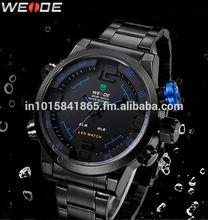 Weide Mens Blue Theme Black Dial Dual Time Display Waterproof LED Watch