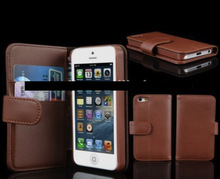Wallet leather cell phone case for iPhone 6, iPhone 5 and iPhone 4 and for Samsung S5 and Note 3