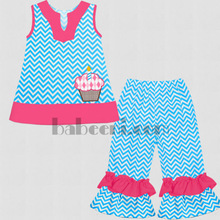 Cupcake and candle appliqued girls peasant set