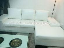 L shaped White Leatherite Sofa