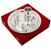 Silver Plated Puja Thali Pooja Accessories Diwali Gift Item of Brass