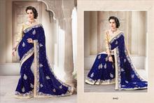 Royal blue full velvet stone work & moti work saree / Designer sarees images