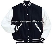 wool baseball, varsity jacket with leather sleeve
