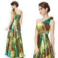 une épaule jauneimprimé floral fleur robe de satin soir he09623yl