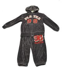 100% COTTON WINTER SEASON VELVET HOODED CHILDREN BOY CLOTHING SETS (GREY COLOR)