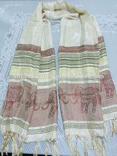 Scarf, Knitting Tassel Long Cotton silk blend Scarf Design Elephant size 62cm X 170cm . Handmade in Thailand