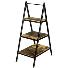 Ladder Bookcase in iron fame and Reclaimed wood, Vintage Industrial Bookcase