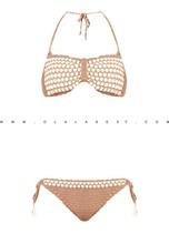 High quality Hand Crochet Bikini | swimwear,swimsuits,beachwear,handmade,boho,bohemian,gypsy,sexy,shells,bandeau,check,beige
