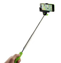 Colorful selfie stick monopod with built in shutter for cell phone and camera