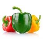 fresh bell pepper in three colors