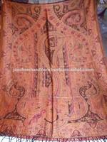Large Jamawar Wool Women Shawl Floral Crewel Embroidery