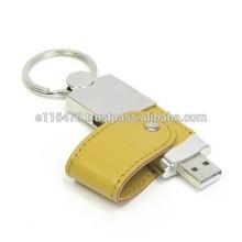 Leather Trim Metal USB Flash Drive / Deri USB Flash Bellek