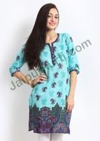 Jaipurkurti Fancy Blue Pure Cotton Printed Kurti- JK1604