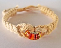 colorful bead with jute braided bracelet