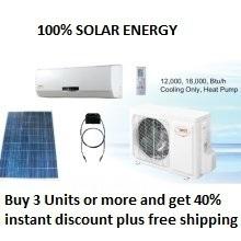 Solar Powered Ductless Heat Pump 12,000 BTU With Heater - 12000 BTU